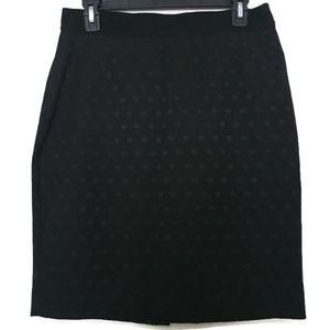 Ann Taylor Black Polka Dot Pencil Skirt Size 6